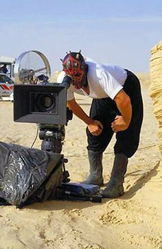 Ray Parks as Darth Maul in a behind the scenes photo from Star Wars Episode 4 The Phantom Menace