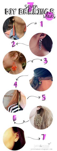 Join the Mood: 7 DIY EARRINGS IDEAS / 7 IDEAS DIY DE PENDIENTES