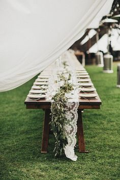 27 Amazing Table Runner Ideas for Your Wedding Reception Page 2 of 2 2019 chic outdoor wedding table setting with lace table runner The post 27 Amazing Table Runner Ideas for Your Wedding Reception Page 2 of 2 2019 appeared first on Lace Diy. Cheap Backyard Wedding, Outdoor Wedding Tables, Wedding Table Themes, Boho Wedding Decorations, Wedding Table Settings, Wedding Ideas, Wedding Arrangements, Reception Decorations, Wedding Venues
