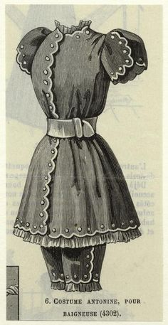 Bathing costume, 1893 From Le Moniteur de la mode : journal du grande monde.  -- I've got to work on making myself something with scallop edgings.
