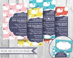 Modern Whale Baby Shower Invitation- MULTIPLE COLOR CHOICES (Digital File Only) by OhHappinessCards on Etsy https://www.etsy.com/listing/126269399/modern-whale-baby-shower-invitation