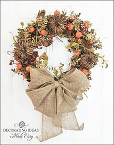 "Fall Wreath With Burlap Bow From DIY User ""decorating-ideas"" Wreath Crafts, Diy Wreath, Door Wreaths, Wreath Ideas, Grapevine Wreath, Wreath Burlap, Burlap Crafts, Wreath Making, Autumn Wreaths"
