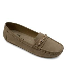 Khaki Jewel Chain-Accent Moccasin