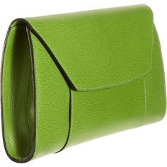 Valextra Handy Clutch ($1,150) ❤ liked on Polyvore featuring bags, handbags, clutches, purses, bolsos, flap purse, valextra, valextra handbags, green purse and green handbags