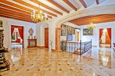 Overwhelmed by #luxurymansion in #Mallorca: #flooring, wooden beams and #interiordesign