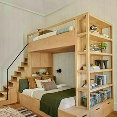 4 Reasons You Should Install Bunk Beds In Your Bedroom – Home Dcorz Amber Interiors, Built In Shelves, Wood Plans, Furniture Making, Furniture Ideas, Bunk Beds, Twin Beds, Space Saving, Woodworking Plans