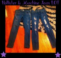 Hollister Distressed HOLLY Jeans 29 Reg,Machine Distressed HOLY jeans 29 (Lot)!! #Hollistermachine #SlimSkinny