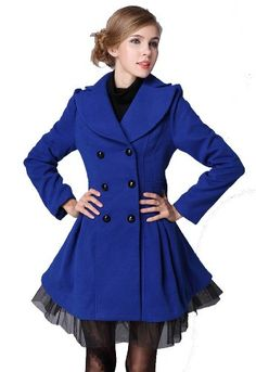65ae1f5ae48 L.V.Y Women Trench Coat Jacket Parka Slim Fit Peacoat XL Blue Blue Coats