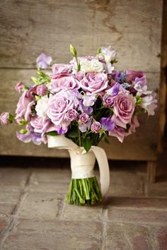 Pretty Pink + Lavender Bridal Bouquet #wedding