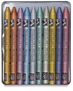 Caran d'Ache Neocolor I Metallic Artist Crayons, Set of 10 is 16 dollars