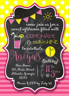 girls-pink-lemonade-first-birthday-party invitation