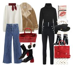 """""""How to style YSL's sac de jour"""" by nikka-phillips ❤ liked on Polyvore featuring Acne Studios, La Garçonne Moderne, Wigwam, Miu Miu, Yves Saint Laurent, Ray-Ban, Chloé, Michael Kors, Isabel Marant and Tommy Hilfiger"""