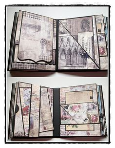 various pages and inserts/photo mounts of Madame Payrauds mini album. #crafts…