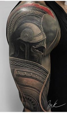 Tatuaje de guerrero espartano - Tattoo ideen -You can find Warrior tattoos and more on our website. Warrior Tattoos, Badass Tattoos, Viking Tattoos, Body Art Tattoos, Tattoos For Guys, Warrior Tattoo Sleeve, Gladiator Tattoo, Schulterpanzer Tattoo, Tattoo Style