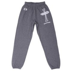 Chrome Hearts Grey Signature Cross Printed Cotton Pants Sale