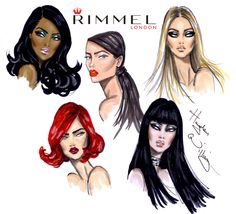 All 5 LFW beauty looks I created in partnership with Rimmel London by Hayden Williams Fashion Illustration Collage, Face Illustration, Fashion Illustrations, Art Illustrations, Hayden Williams, Fashion Artwork, Mother Art, Illustration Techniques, Rimmel London