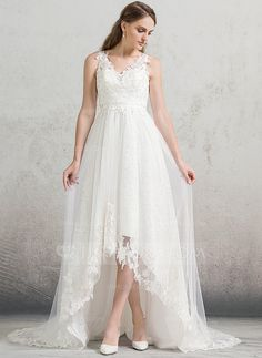 A-Line/Princess V-neck Court Train Zipper Up Covered Button Regular Straps Sleeveless Church General Plus No Spring Summer Fall Ivory Tulle Lace Wedding Dress