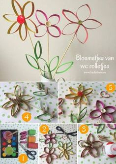 Give flowers from toilet rolls as a gift. Easy to make (also with kids) with this DIY photo step-by-step plan. Actually so much fun that you want to keep them yourself! Toilet rolls flower, toilet roll flower, flower of a toilet roll,…Read Sunday School Crafts For Kids, Diy For Kids, Adult Crafts, Diy Crafts, Diy Foto, Paper Roll Crafts, Quilling Designs, Summer Diy, Paper Quilling