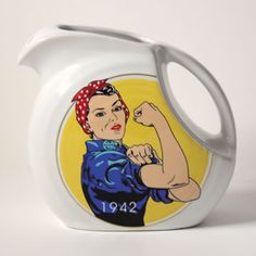 "The 2010 exclusive pitcher design celebrates the year 1942 with ""Rosie the Riveter."" The pitcher is produced in white and it is decorated in seven glazes. Rosie the Riveter is a cultural icon of the United States, representing millions of American women who traded their aprons for overalls during World War II, many of whom worked in factories and manufacturing plants that produced munitions and war supplies. Limited edition of 300.   Color: White  Available Quantity: 48  Available only to…"