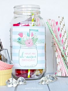 "Cute! ""Ah-mason"" birthday tags to tie onto mason jar for easy birthday gift. Fill with treats or goodies!"