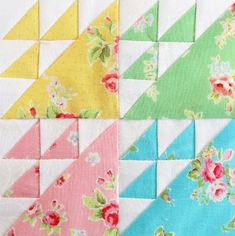 Scroll through the exquisite little kaleidoscopic quilt squares made with beautiful 1930ish repro fabric. Like delicious little idea bonbons.