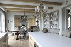 If I were a traditional girl, this would be my kitchen.  Love the grey and wood mix