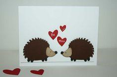 Valentine Card - Hedgeghog themed Valentine's day card / greeting card. $4.00, via Etsy.