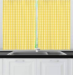 """Green Leaves Black and White Waves Window Drapes Kitchen Curtains 2 Panel 55*39/"""""""