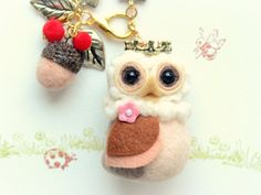 Needle felted owl bag charm with acorn Royal Owl by NozomiCrafts, $28.00