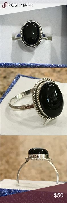 Black onyx silver ring Size 9, black onyx, decorative rope details, stamped 925 solid sterling silver. Jewelry Rings
