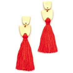 Madewell Tassel Earrings ($28) ❤ liked on Polyvore featuring jewelry, earrings, ripe persimmon, earring jewelry, geometric jewelry, fringe tassel earrings, tassle earrings and flat earrings