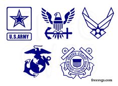 Set of United States Militay Logos in SVG file format. This set includes Army, Navy, Air Force, Marines & Coast Guard. Great for making decals and t-shirts Air Force Symbol, Coast Guard Logo, Coast Gaurd, Marines Logo, Navy Military, Military Shirt, Military Tattoos, Cricut Svg Files Free, Cricut Air