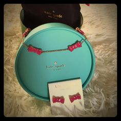 "♠️Kate Spade♠️""Take a Bow""♠️Earrings&Necklace Set Long Scatter Necklace & Earrings♠necklace drop is 15""comes with dust bag and gift boxPrice firm:) kate spade Jewelry Necklaces"