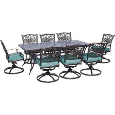 Hanover Outdoor Traditions 9-Piece Dining Set with Eight Swivel Dining Chairs and a 84 x 42 in. Dining Table