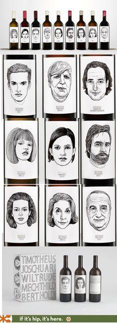 Gut Oggau's illustrated wine labels with line art portraits.
