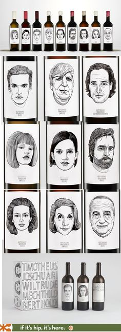 Gut Oggau's illustrated wine labels with line art portraits.