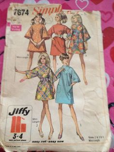 Vintage 1968 Simplicity Sewing Pattern Dress Beach Cover Up # 7674 Mini Length