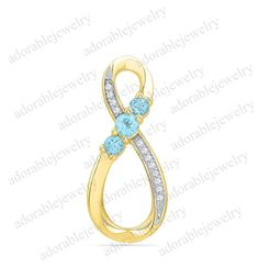 Yellow Gold Over 925 Sterling Silver Round Cut Aquamarine amp CZ Infinity Pendant Infinity Pendant, Silver Rounds, Cute Jewelry, Turquoise Bracelet, Amp, Sterling Silver, Yellow, Bracelets, Gold
