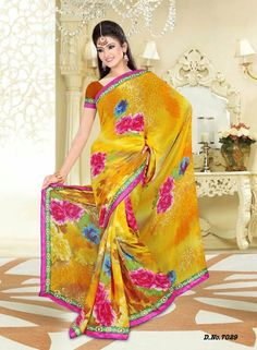 Buy Yellow Colour Georgette Sarees Online Shopping: justforbuy.com