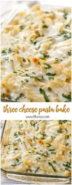Delicious Three Cheese Past Bake - filled with Ricotta, Parmesan and Mozzarella Cheese and SO delicious!