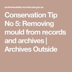 Conservation Tip No 5: Removing mould from records and archives | Archives Outside