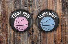 Pink and Blue chalkboard style basketball gender reveal pins image 0 Gender Reveal Tshirts, Basketball Gender Reveal, Basketball Party, Baby Shower Gender Reveal, Reveal Parties, Pin Image, Chalkboard, Nara, Baby Fever