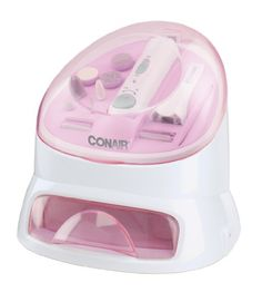 The true glow all-in-one nail care system helps create perfect manicures and pedicures every time, in four simple steps. Just soak, shape, polish, and dry. Use the manicure bowl to soften nails and cuticles. The rechargeable nail tool includes 12 attachments so you can shape, smooth and polish nails to perfections. It also gives you a flawless finish with the built-in nail dryer. This unique all-in-one design gives you professional results.