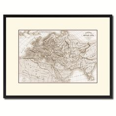 Europe In The Middle Ages Crusades Vintage Sepia Map Canvas Print, Picture Frame Gifts Home Decor Wall Art Decoration