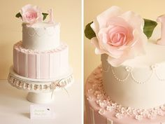 Sophia's vintage rose first birthday cake by Cake Ink. (Janelle), via Flickr