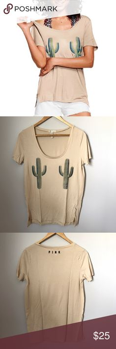 PINK Victoria's Secret Super Soft Scoop Tee Brand new, in packaging from online. Size XS. Beige with cactus print. Sorry, no trades & I am unable to model. PINK Victoria's Secret Tops Tees - Short Sleeve