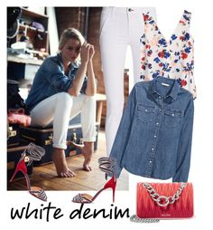 """""""Bright White: Summer Denim"""" by laurabosch on Polyvore featuring rag & bone, Banana Republic, H&M, Christian Louboutin, Miu Miu and whitejeans"""