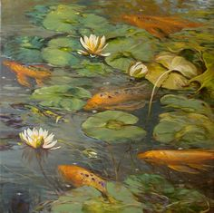 KOI AND LILIES, by CHUCK LARIVEY