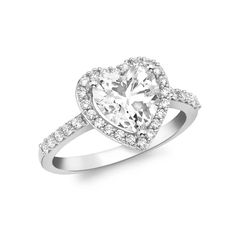 T H Baker 9ct White Gold Cubic Zirconia Heart Cluster Ring 5.84.8511