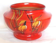 VINTAGE Cir 1930 s SHELLEY HAND PAINTED KINGFISHER VASE - No. 8655